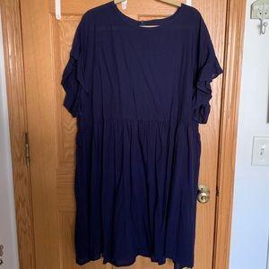 Navy Ruffle-sleeve Dress